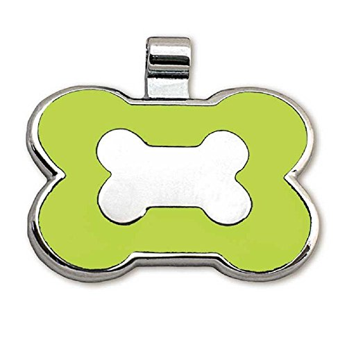 LuckyPet Pet ID Tag - Bone Shaped Jewelry Tag - Beautiful Enamel on Front - Custom Engraved on Back Side - Easy To Read Laser Engraving - Size: Large, Color Lime