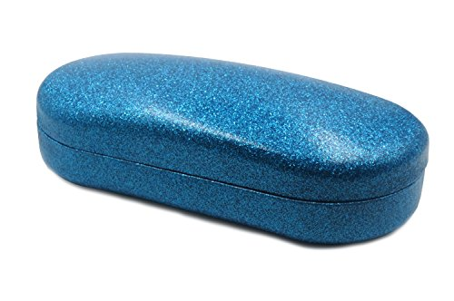 Hard Sunglasses Cases | Oversized To Protect Glasses w/Large to Extra Large Frames | Great For Men & Women | Sparkly Looking Finish | Hard metal Clamshell (AS87 Blue - Sunglasses Case