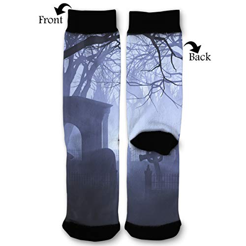Primede Halloween Spooky Graveyard Quarter Dress Mid Calf Knee Crew Socks Calf Knit Hosiery Female Ladies Women Girl Teen Kid Youth Themed Clothing Party Clothes Dresses Apparel Ankle]()