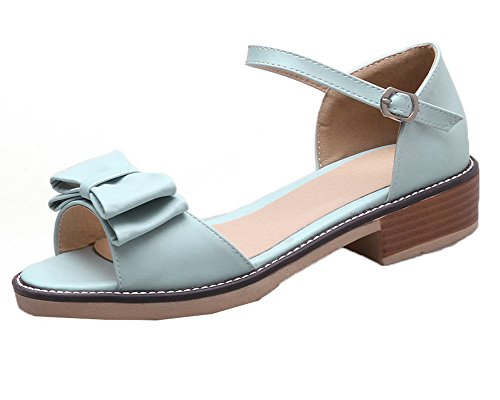 Toe Pu Buckle Open Sandals Solid Heels Blue Low WeiPoot EGHLH006564 Women's wxHIn0Uq5f