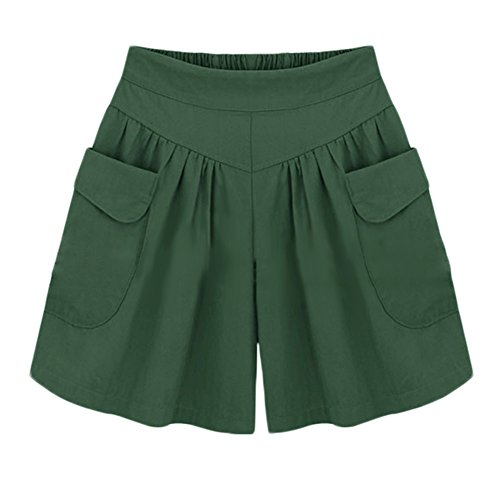 AvaCostume Women's Summer Comfortable Culottes Elastic Waist Wide Leg Pocket Casual Shorts Green2 (Green Pocket Shorts)
