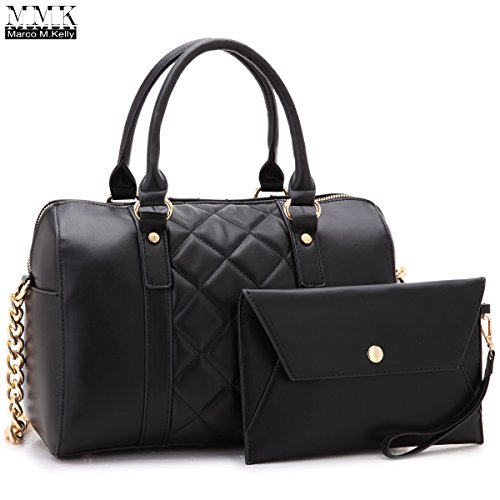 MMK Collection Fashion Satchel handbag~(7566/7370) Soft/Patent Vegan Leather~Beautiful Designer Purse~Perfect Shoulder Bag~Fashion handbag Set for Women(Matching Wallet Set 7566 Black)
