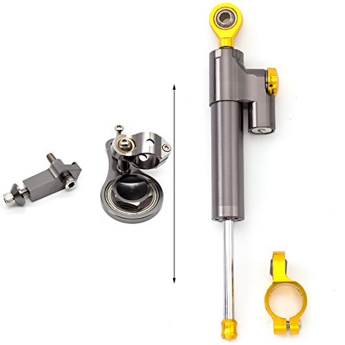 FXCNC Racing Motorcycle CNC Steering Damper Stabilizer Buffer Control Bar With Mounting Bracket Kit Full Set Fit For KAWASAKI ZX636 ZX6R 2005-2006 ()