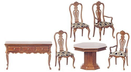 Melody Jane Dollhouse Hayes Dining Suite Walnut Platinum Miniature Furniture Set by Melody