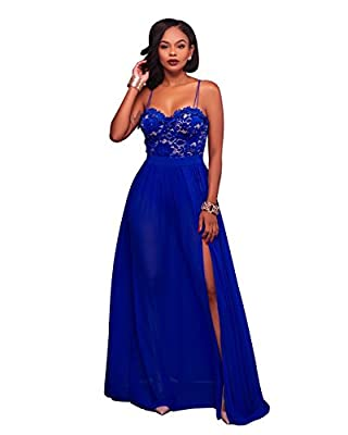 Women' Elegant Spaghetti Strap Sleeveless Formal Evening Cocktail Party Long Maxi Dress