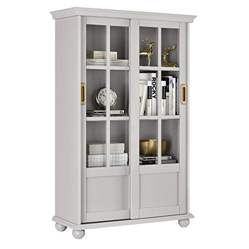 Ameriwood Home Magnolia Hill Bookcase with Sliding Glass Doors, Gray ()