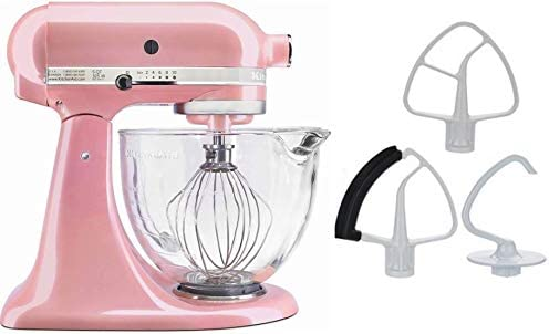 KitchenAid 5-Quart Stand Mixer Glass Bowl Guava Pink