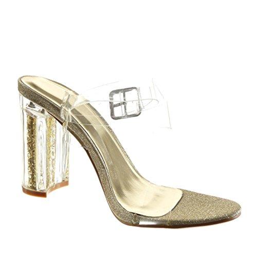 10 Talon Haut Lanière Sexy Sandale Pailettes Mode Angkorly Or Bloc Transparent Femme Chaussure cm qpPzg