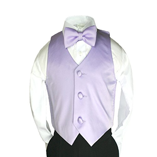 Unotux 23 Color 2pc Boys Formal Satin Vest and Bow Tie Sets from 8 to 20 years (8, Lilac)