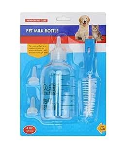 5pcs/set Pet Cat Dog Baby Animal Feeding Bottle Milk Nursing Bottle with Spare Nipple and Brush