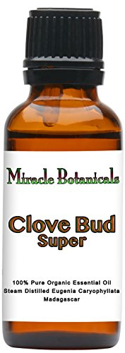 Miracle Botanicals Madagascar Clove Bud Super Essential Oil - 100% Pure Eugenia Caryophyllata - 10ml or 30ml Sizes - Therapeutic Grade -30ml by Miracle Botanicals