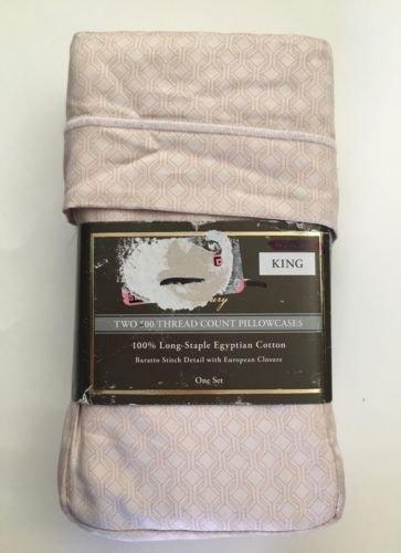 - Fieldcrest Luxury, 100% Egyptian Cotton Pillowcase Set, 500 Thread Count, Geo Blush, KING