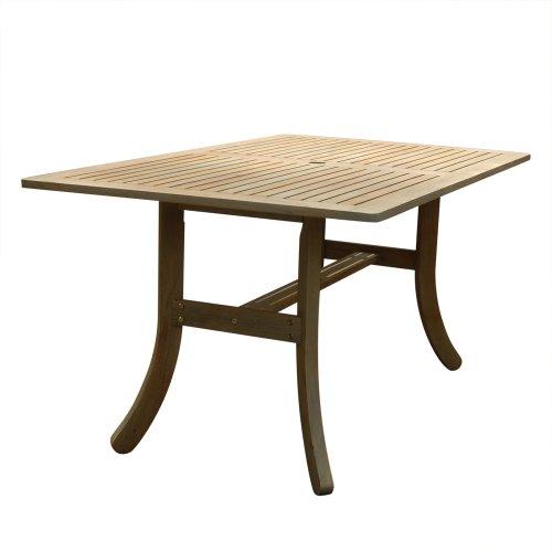 Rectangular Bar Height Umbrella Table (Vifah V1300 Renaissance Outdoor Hand-Scraped Hardwood Rectangular)