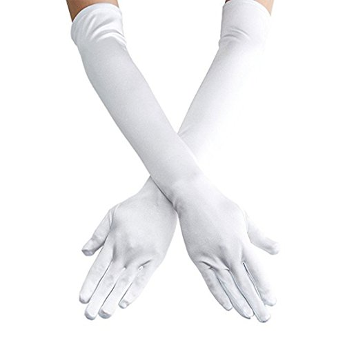 Women's 22'' Long Satin Finger Gloves Bridal Dance Gloves For Special Occasion Evening Party, Black, White, Pink, Red (White) -