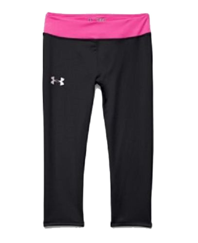 Under Armour Girls' UA DFO Performance Yoga Capri Pants (Small, Black Pink)