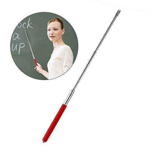 Tinksky Telescopic Teachers Pointer,Teaching Pointer,Hand Pointer Extendable Telescopic Retractable Pointer Handheld Presenter Classroom Whiteboard Pointer (Red)