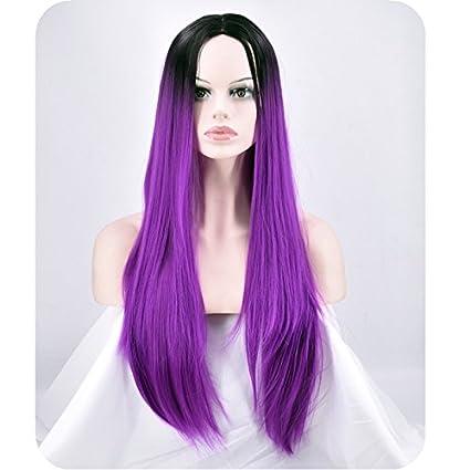 WIAGHUAS Resistente a la peluca, gradiente femenino en el pelo largo, cabeza enderezadora,