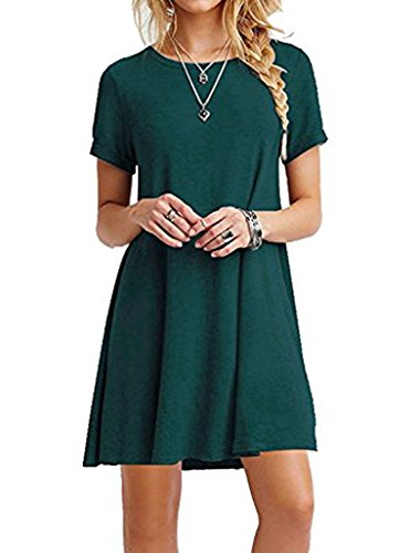 Women's Summer Fashion Casual Plus Size Short Sleeve Dress Green - 5