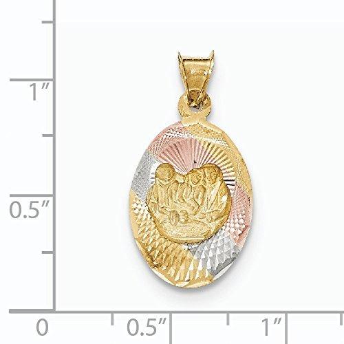Poli 14 carats et diamant de Rhodium coupe JewelryWeb baptême pendentif ovale