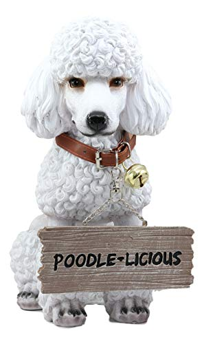 (Ebros Lifelike Realistic Groomed White French Poodle Dog Fifi Welcome Greeter Statue 11.5