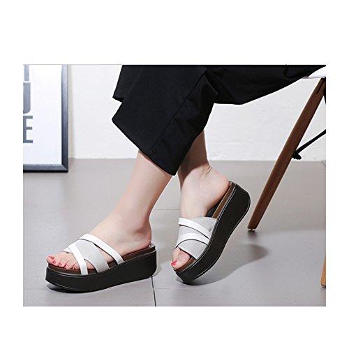 2 con alto alto con spesse tacco con UK6 Pantofole dimensioni Colore estate moda 1 tacco donna EU39 e CN39 suole da plateau Slipper OxwBIqYq