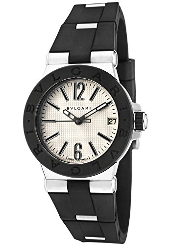 - Bulgari Women's Diagono Classic Silver Textured Dial Black Rubber