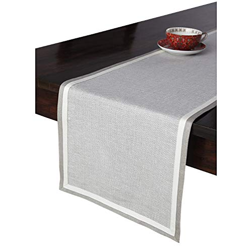 - Solino Home Partito Linen Table Runner - 100% Pure Natural Fabric Handcrafted from European Flax - 14 x 90 Inch Textured Natural Table Runner