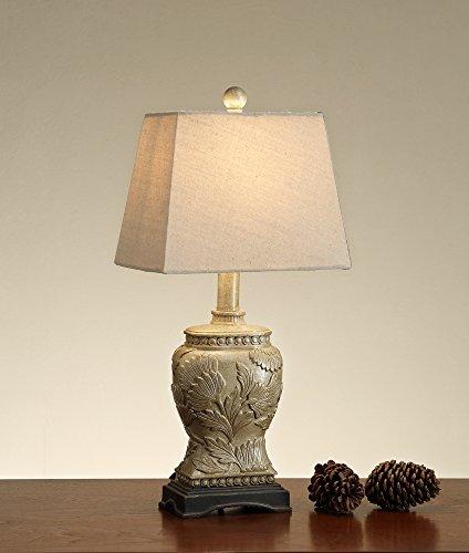 Benzara BM167214 Carved Base Polyresin Table Lamp (Set of 2) White/Gold