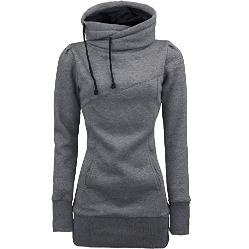 Embroidered Hoody Tunic - HGWXX7 Women Hoodie Fashion Warm Solid High Collar Pullover Tunic Tops Sweatshirt Plus Size(S,Gary)