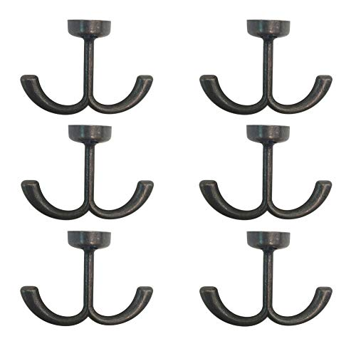 (ROOS Zinc Alloy Double Prong Ceiling Hook Towel/Robe Clothes Hook Pack of 6)