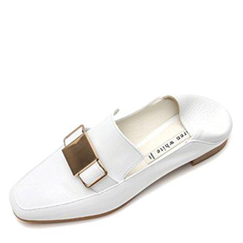 Karen Vache Blanche Mouton Cuir Bout Carré Penny Loafer Chaussures Plates Avec Boucle Pour Les Femmes Blanc