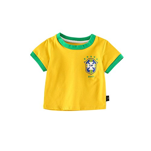 Fairy Baby Toddler Baby Boys Girls World Cup Football Soccer Jersey Shirts Summer Outfit Clothes Size 110 (Yellow)