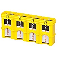 Storacell by Powerpax SlimLine 9V Battery Caddy, Yellow, Holds 4 Batteries by Storacell