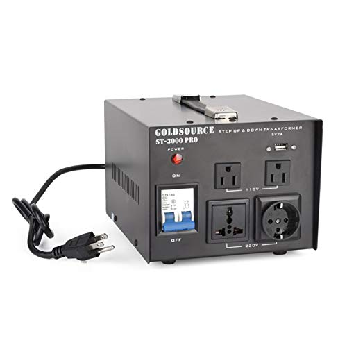 3000W Auto Step Up & Step Down Voltage Transformer Converter, ST-Pro Series Heavy-Duty AC 110/220V Converter with US Standard, Universal, Schuko AC Outlets & DC 5V USB Port by Goldsource