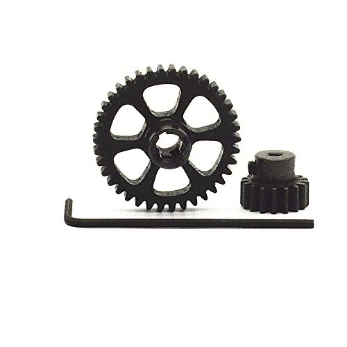38t Gear (Upgrade Durable Black Metal Differential Main Gear 38T Metal 17T Motor Gear Spare Parts RC Hobby Fun Easy to Replace Wltoys 1/18th A949 A959 A969 A979 K929 1-Set)