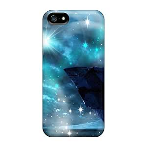 Rugged Skin Case Cover For Iphone 5/5s- Eco-friendly Packaging(moon Ring Fantasy)