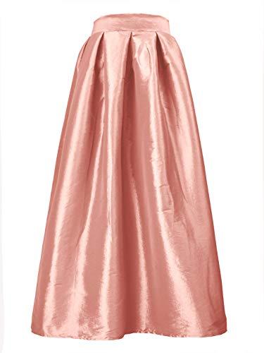 (PERSUN Women's High Waist A Line Pleated Swing Long Skirt with Pockets (Medium, Medium) Pink)