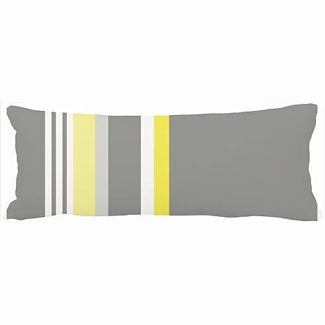Decorativo almohadas gris amarillo rayas diseño único ...