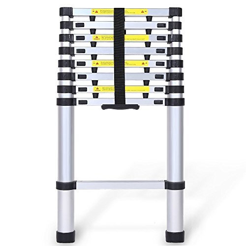 8.5ft Aluminum Telescopic Extension Ladder, EN131 Certified Extendable Telescoping Ladder with Spring Loaded Locking Mechanism Non-slip Ribbing by Ohuhu