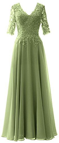 Sleeves Bride Mother MACloth Half Dress Women Neck clover Evening Formal of V Gown wv4xq6