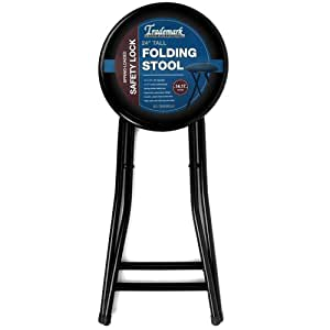 Amazon Com Cushioned Folding Stool In Black 24 Inches