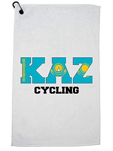 Hollywood Thread Kazakhstan Cycling - Olympic Games - Rio - Flag Golf Towel with Carabiner Clip by Hollywood Thread