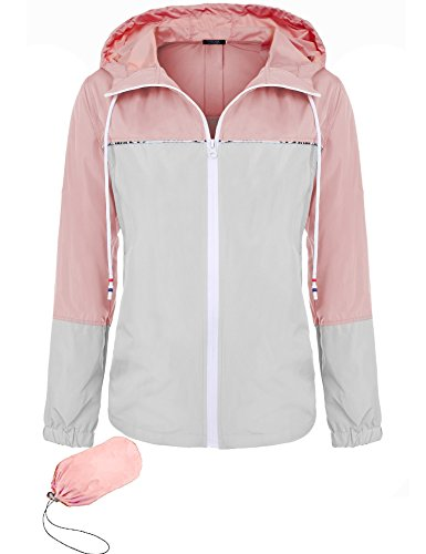 FISOUL Women's Waterproof Raincoat Active Outdoor Hooded Rain Jacket Lightweight Windbreaker (Quilted Riding Jacket)