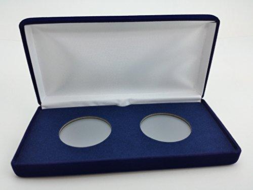 ((1) Air-Tite Blue Velvet Coin Presentation Case (Holds 2) for Air-Tite Brand Coin Holder Capsules (Model
