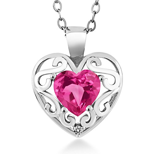Shape Pink Sapphire Gemstone - 0.81 Ct Heart Shape Pink Created Sapphire White Diamond 925 Sterling Silver Pendant with 18