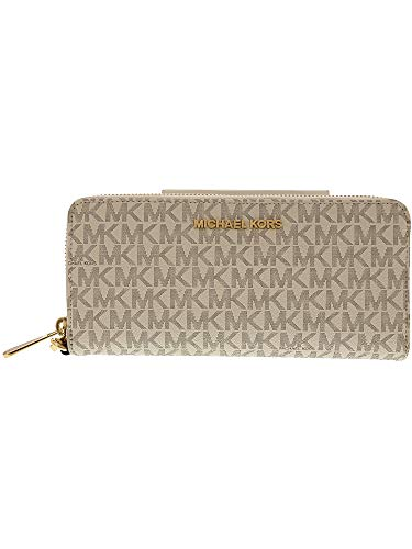 - Michael Kors Jet Set Travel Monogram Zip Around Travel Wallet Wristlet, Vanilla / Acorn