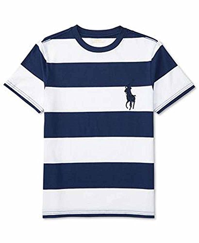 Price comparison product image Polo Ralph Lauren Baby Boys Striped Big Pony Tee (12 Months,  White / Navy)