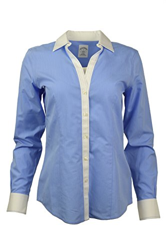 Brooks Brothers Womens Striped Non-Iron Contrast Stitch V-Neck Button Down Shirt Blue/White (8)