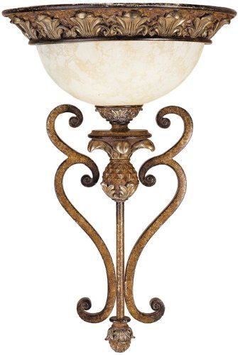 (Livex Lighting 8460-57 Savannah 1 Light Venetian Patina Wall Sconce with Vintage carved Scavo Glass by Livex Lighting)
