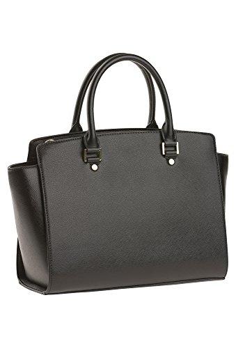 MICHÈLE BOYARD Damen-Handtasche, schwarz-gold Damen-Handtasche,Handtasche,Schwarze Handtasche, schwarz,OneSize
